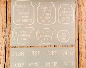 Kitchen Measurements // Kitchen Measurement Conversion Decal //Cabinet Decal // Baking Conversion Chart // Conversion Decal