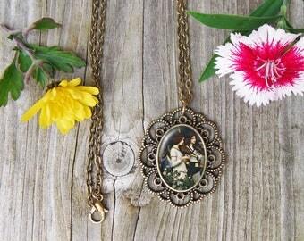 Saint Cecilia Necklace, John Waterhouse Glass Dome Pendant Necklace