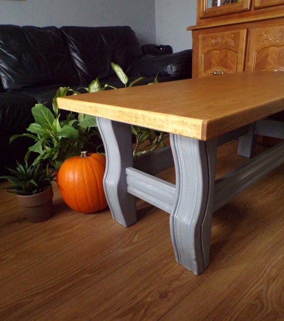 Hand Painted Distressed Coffee Table: Hand Painted Coffee Table Shabby Chic Big By