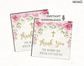 Pink Floral Baptism Favor Tags. Pink and Gold Roses. INSTANT DIGITAL DOWNLOAD. Chic Thank You Tags. Christening. Communion. Naming Day. RO3