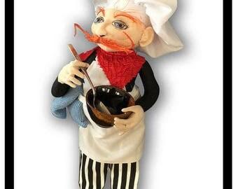 NI101E – Bon Appetit!, A French Chef Cloth Doll Making Sewing Pattern