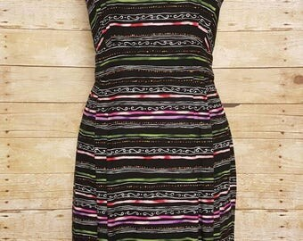 90s Positive Attitude Dress Size 12 Open Back Black Multicolor Rayon Graphic Print Lined