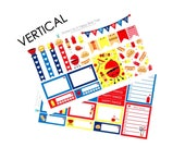 Happy Barbeque Sticker Set VERTICAL Erin Condren Life Planner ECLP Mambi Kawaii Cute Funny Weekly Kit Headers Flags Full Box BBQ July Summer