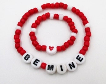 Valentines Day Little girl and 18' doll matching  bracelets Be MIne red