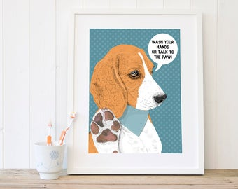 Beagle funny bathroom art Wash your hands wall art Bathroom rules Washroom decor - artwork illustration kids art prints wall decor wall art