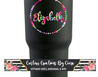 Name Monogram Decal / Car decal / Lilly Decal / Vinyl Name Decal / Yeti Decal / Arrow Monogram / Monogram Decal / Monogram Sticker
