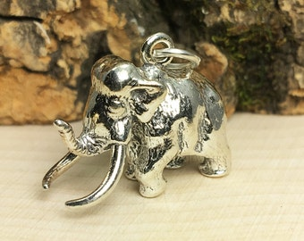 3D Sterling Silver Wooly Mammoth Bracelet Charm, Dinosaur Charm, Paleontologist, Animal, Jewelry, .925 Silver, DIY, Charms, (C256)