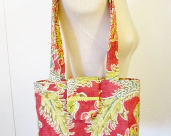 Colorful, sturdy upholstery fabric purse with lots of room inside, 3 pockets, double straps. One of a kind purse. Light and comfortable..