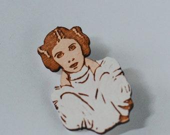 Princess Leia Hand-Painted Star Wars Magnet, Carrie Fisher Rebel Alliance Wood Fridge Magnet