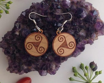 Earrings- Celtic Triquetra Symbol - Round Wood Laser Engraved Earrings- pagan, wicca, witch.