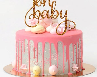 Baby Shower Cake Topper Oh Baby Cake Topper Baby Shower Decorations Glitter Baby Shower Cake Topper Glitter Cake Topper Gender Reveal Party