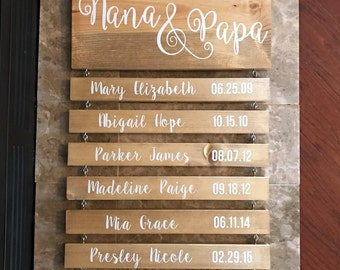 Grandchildren - Grandparents - Nana and Papa Rustic Wood Sign with Name and DOB - Some of our Greatest Blessings call us Nana & Papa