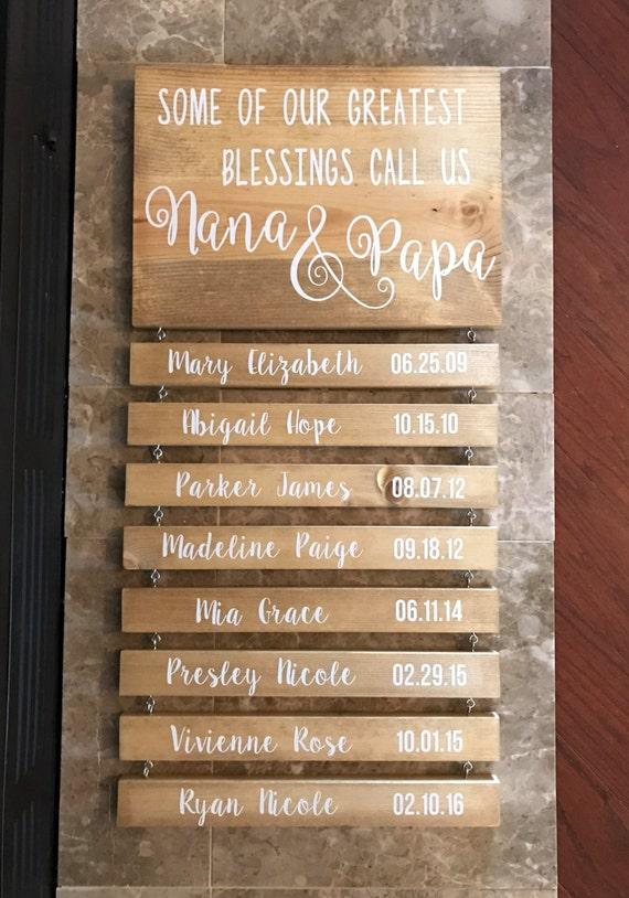 Grandchildren Grandparents Nana And Papa Rustic Wood Sign