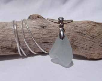 Blue Sea Glass Pendant Necklace 925 Sterling Silver