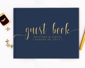 Real Gold Foil Wedding Guest Book landscape horizontal Gold foil Guest Books Custom Guestbook Modern Wedding Script Wedding - navy