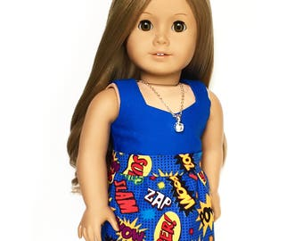 Mini Skirt, Superhero, Blue, Red, Yellow, Black, Spring, Summer, Fits dolls such as American Girl, 18 inch Doll Clothes