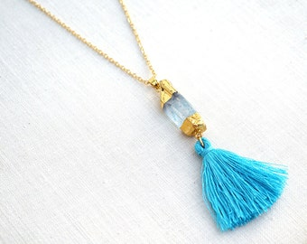 Fairytale Gift Silk Tassel Crystal Necklace Aqua Aura Quartz Boho Bohemian Hippie Gypsy Earthy Blue Turquoise Jewelry Delicate Gold Chain