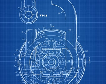 Combination Lock Patent - Wall Decor, Vintage Tools, Vintage Padlock, Antique Lock, Combination Padlock, Lock Patent, Patent Print