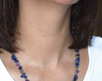 Blue Lapis Lazuli and Amethyst semi precious stone necklace