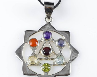 7 Chakra Necklace - Sterling Silver Necklace with 7 Chakra Pendant - Star Necklace Chakra Jewelry J896