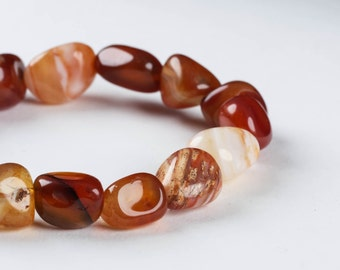 Orange CARNELIAN Bracelet - Tumbled Stone Carnelian Bead Stretch Bracelet - Natural Stone Jewelry & Carnelian Crystal Jewelry E0137
