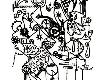 "5""x7"" mini print of ""Brainstorming"" papercut"