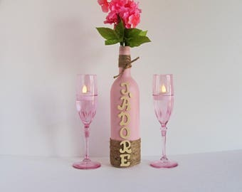 J'Adore Wine Bottle, Pink Wine Bottle Set, I adore you gift, J'Adore Gift, Champagne Glass, Champagne Candle, Twine Wrapped, Wine Lover Gift