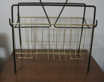 Magazine Rack, Black & Gold, Retro Look