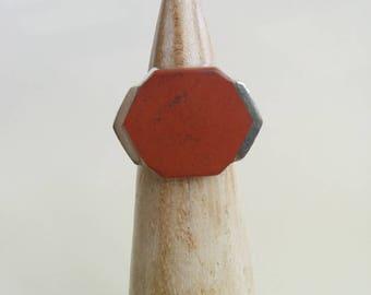 Vintage Sterling Silver Red Jasper Modernist Style Hexagon Hexagonal NF 925 Thailand Handmade Ring