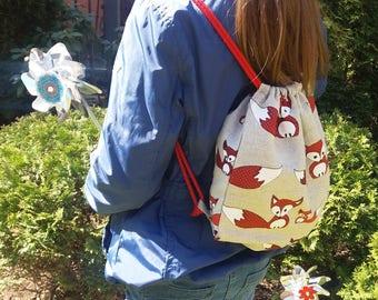 Mini linen drawstring backpack   Foxes print   Natural fabrics backpack   Little bag   Lunch bag   Toys bag    Toddler bag   Kids backpack