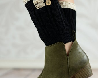 Black Acorn Button Boot Cuffs