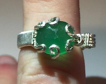 Sterling Silver and Green Onyx Wire-Wrapped Ring