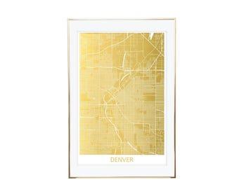 Denver Map Gold Foil Print- Real Gold Foil, Gold Foil Printing, Foil Print, Gold Foil Maps, Foil Maps. Gold Foil Map Of the World