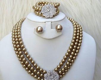 Golden Beautiful Luscious Quality Pearls Necklace Bracelet Earring Jewellery Set UK Dispatch