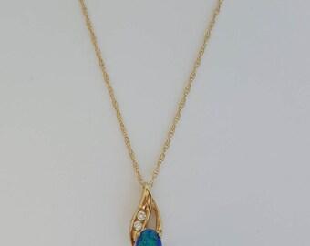 "Beautiful 14k/10k 0.43 Carat Black Opal and Cubic Zirconia Gold Necklace (16"")"
