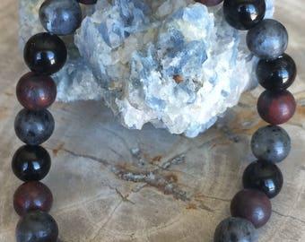 Red Jasper, Obsidian & Labradorite Stretch Bracelet! Handmade Premium Bead Healing Bracelet! Natural Healing Jewelry Meditation Metaphysical