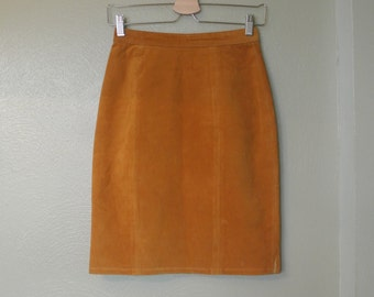 Global Identity Leather Pencil Skirt, Size 3/4, 1980s