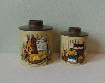 Vintage Retro Harvest Ransburg Nesting Kitchen Canisters