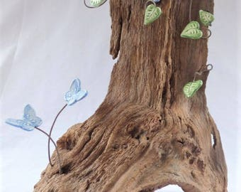 New Forest Wood Tree Ornament, Decorated with Butterflies and Leaves made from Clay, Hand stamped, Handpainted - Home Decor