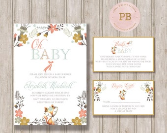 Oh Baby Fox Baby Shower Invitation, Oh Baby Invitation, Woodland Invitation, Fox Invitation, First Birthday Invitation, Printable Invitation