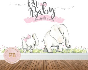 Digital Oh Baby Baby Shower Backdrop, Oh Baby Elephant Baby Shower Backdrop, Elephant Baby Shower