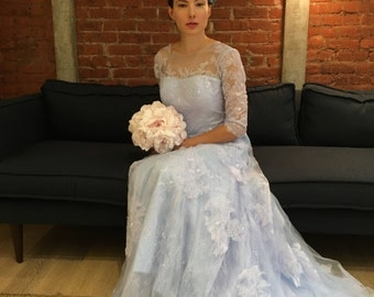 SAMPLE SALE Blue Lace A-Line 3/4 Sleeve Wedding Dress