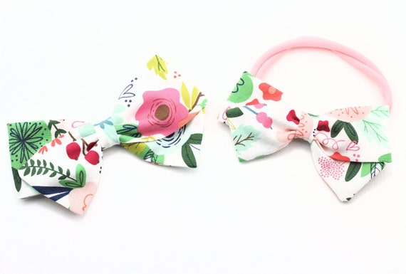 Baby bows, Toddler, Girls Fabric Bow, Newborn, Hand tied bow, Floral