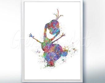 Disney Olaf Frozen Watercolor Poster Print - Wall Decor - Watercolor Painting - Watercolor Art - Kids Decor- Nursery Decor