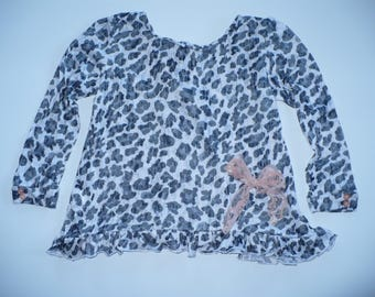 GIRLS PATTERNED TOP, holiday top, autumn top, spring top, birthday top, party top, special occasion top, handmade