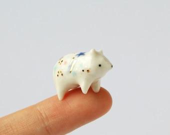 Mini Ceramic Galaxy Bear Totem - 22k Gold, Porcelain Bear, Terrarium Figurine, Animal Figurine, Bear Figurine, Animal Figurine