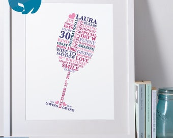 Personalised 30th Birthday Gift Typography Wine Glass | 30th Birthday Gift For Her | Printable | Personalized 21st Birthday Gift | 40th