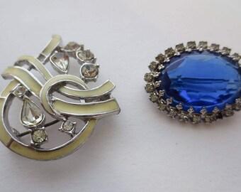 Vintage brooch, brooch, blue brooch, white brooch