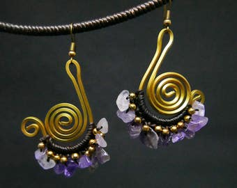 Bronze Carved Wire Charm Drop I Violet Turquoise Chips Beaded Earrings Handmade Jewelry Brass Hook