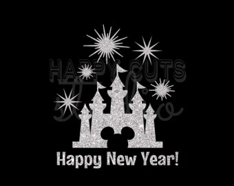 Disney Happy New Year Castle in Silver Glitter Vinyl Mickey Mouse Minnie Mouse Matching Family Disney Iron On Decal Vinyl for Shirt